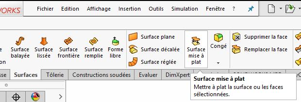 développé surfaces solidworks 2