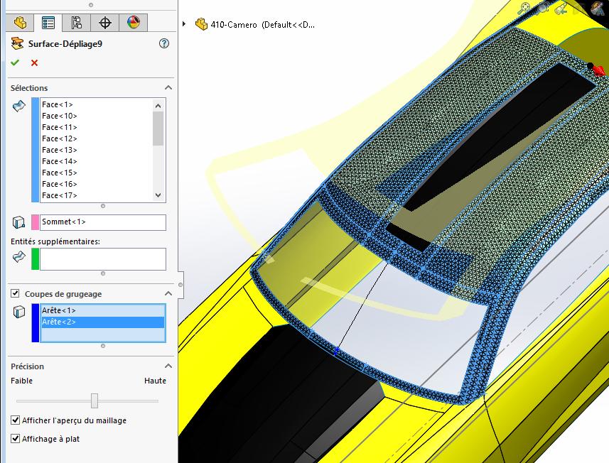 développé surfaces solidworks 15