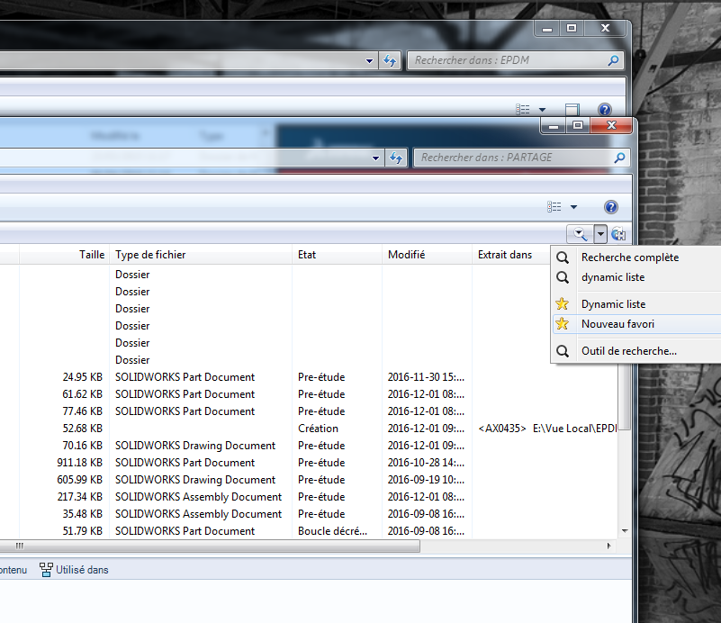Favoris de recherche SOLIDWORKS PDM Pro