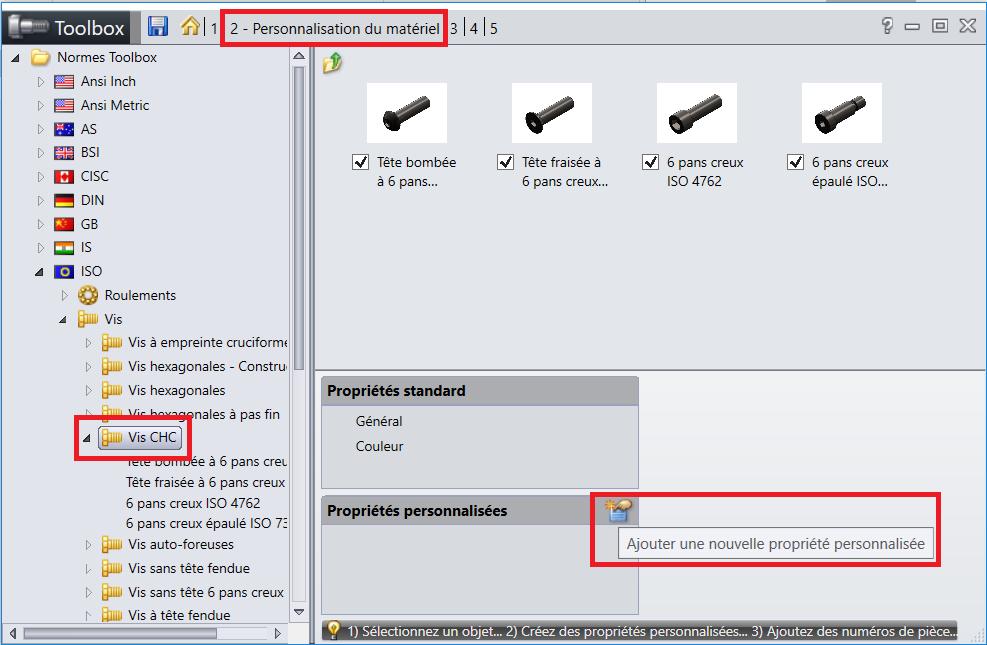 SOLIDWORKS Toolbox 1 - Menu Toolbox - Personnalisation du materiel