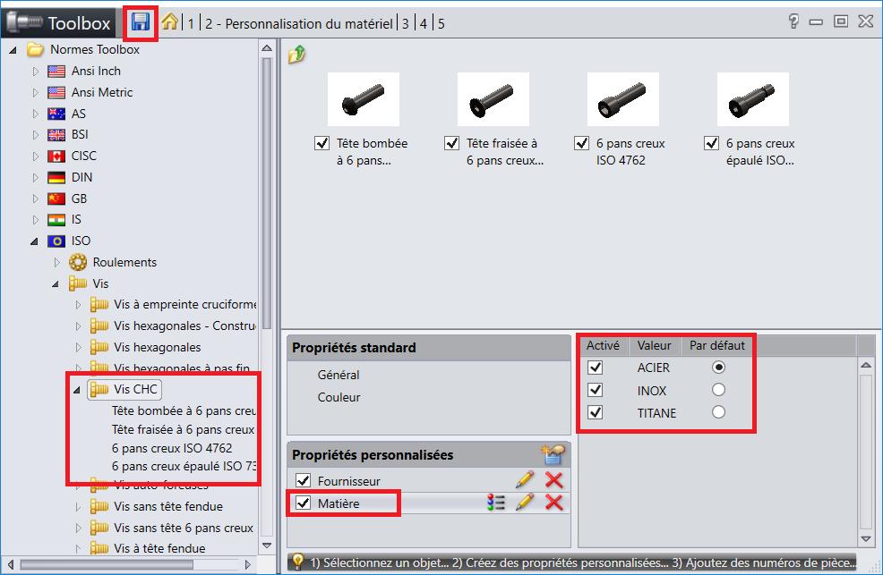 solidworks toolbox 5 - Menu Toolbox - Propriété matière - 2