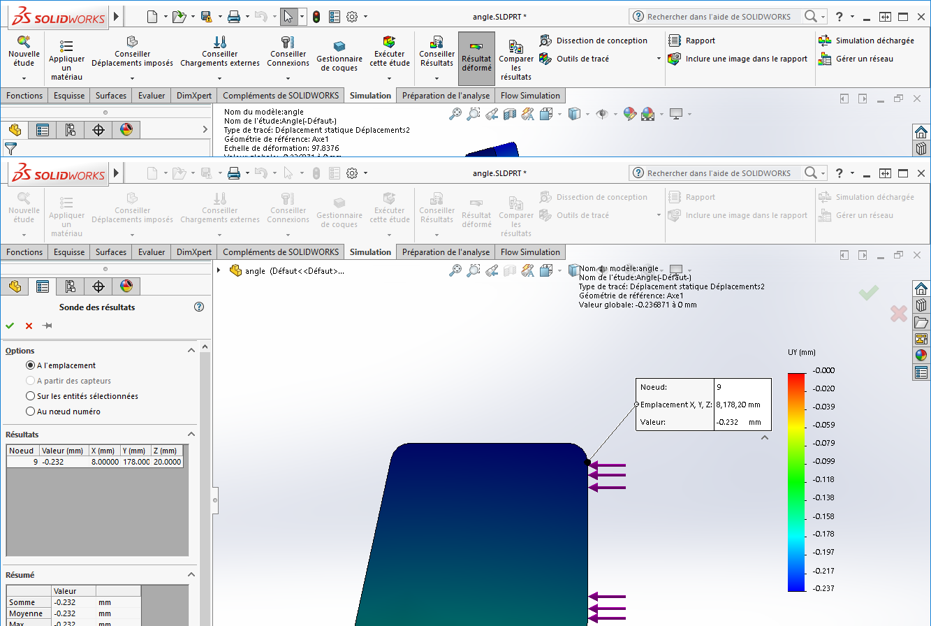 ANGLE DE DÉFORMATION SOLIDWORKS SIMULATION :