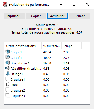 temps de reconstruction sur solidworks