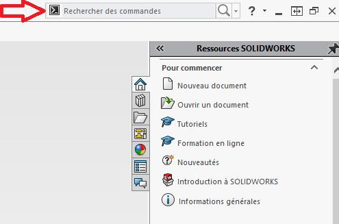barre de recherche solidworks