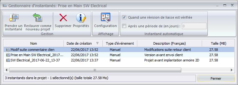 Sauvegarder des versions de projets SOLIDWORKS Electrical