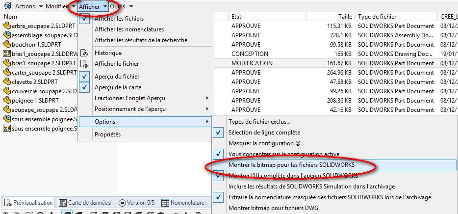 personnalisation des menus solidworks PDM pro