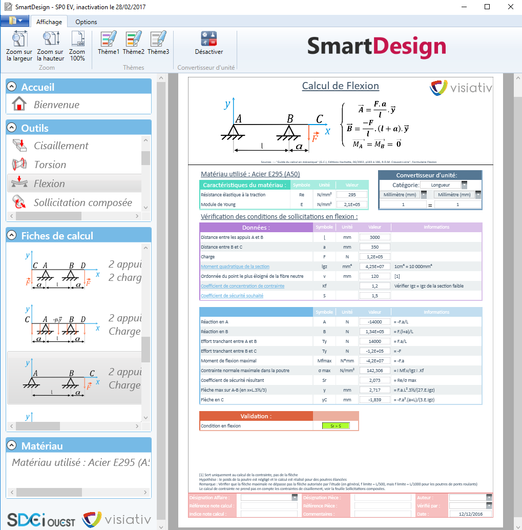 SmartDesign calcul de flexion