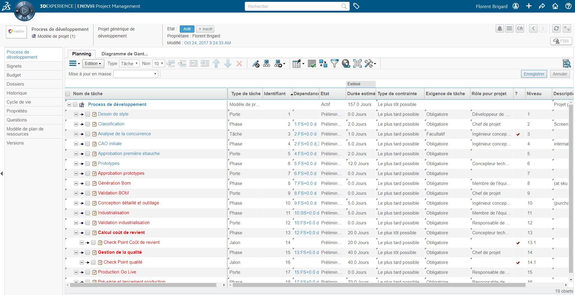 Exemple planning type - modèle de projet 3DEXPERIENCE