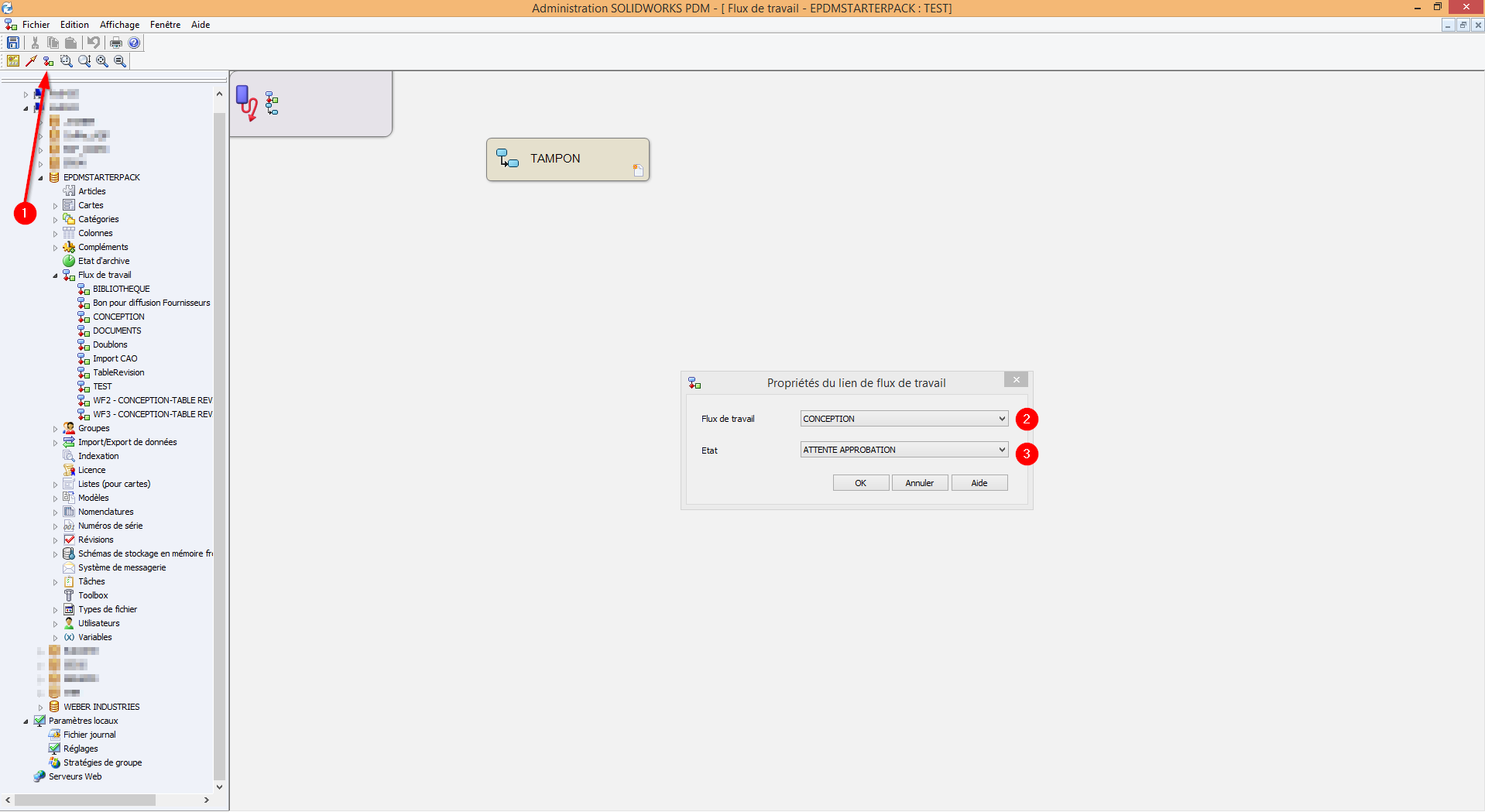 Changer le flux de travail d'un fichier SOLIDWORKS PDM