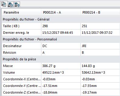 Comparer 2 fichiers SOLIDWORKS