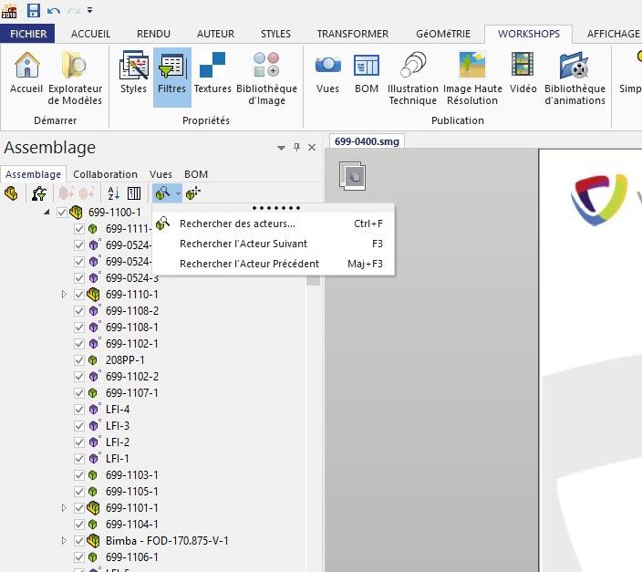 outils de recherche et sélection SOLIDWORKS Composer